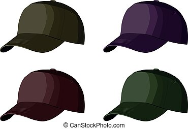 Set of Baseball caps realistic vector illustration isolated