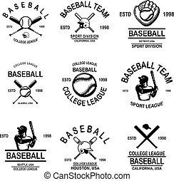 Set of baseball emblems. Design element for logo, label, sign, poster, t shirt.