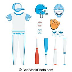 Baseball equipment set. Bat, ball, softball gloves, batting helmet. Flat vector cartoon illustration. Objects isolated on a white background.