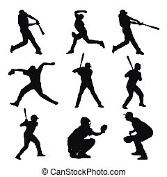 Set of baseball players silhouettes. Batter, catcher, pitcher, base, bowler, fielder, baseman, shortstop