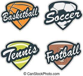 Set of Baseball, Tennis, Soccer, Basketball and Football Badges
