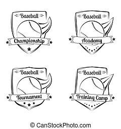 Set of baseball vector hand drawn emblems. Sport logo design.