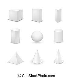 Set of basic elementary geometric shapes, blank 3d primitives isolated on white