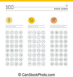 Set of basic icons for web