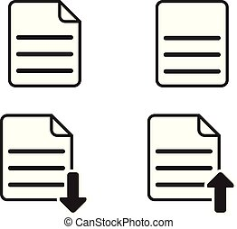 Set of basic paper or document icon on white background (Vector illustration)