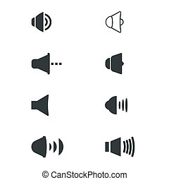 Set of basic sound volume icons for web and user interface. Mobile UI icons for media players