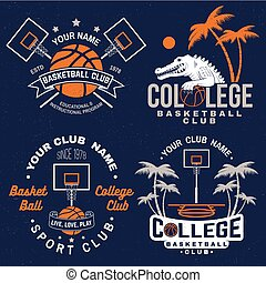 Set of basketball club badge. Vector. Graphic design for t-shirt, tee, print or apparel. Vintage typography design with basketball hoop and ball silhouette.