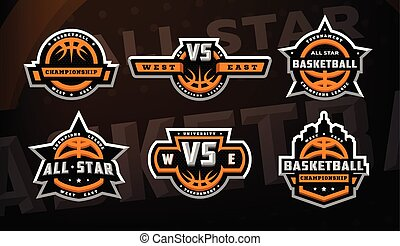 Set of basketball logos, emblems, labels on a dark background.