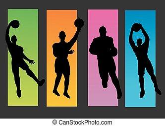 Set of basketball players