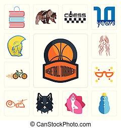 Set of basketball tournament, snowman, yoga studio, wolf face, carpet, masquerade, bike shop, long hair, warrior head icons