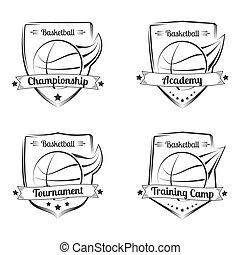 Set of basketball vector hand drawn emblems. Sport logo design.