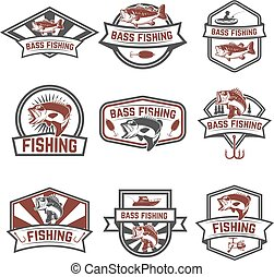 Set of bass fishing emblem templates isolated on white...