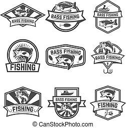 Set of bass fishing emblem templates isolated on white backgroun