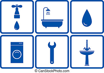 set of blue isolated bath objects in frame