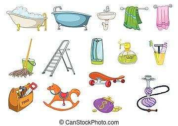 Set of bath toiletries and equipment illustrations