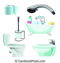Set of bathroom equipment realistic vector illustration. Bidet, toilet, bath