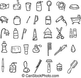 Set of bathroom vector icons