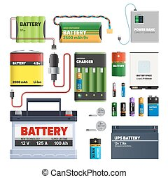 Set of Batteries. Primary Cells Power Bank. Vector