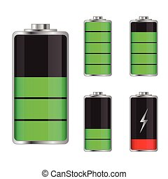 Set of battery charge levels illustration