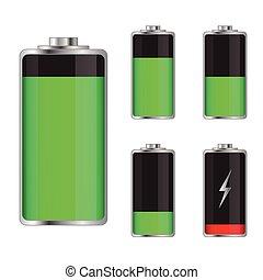 Set of battery charge levels illustration