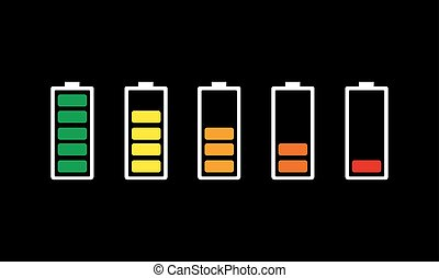 Set of battery charging icons. Vector illustration.