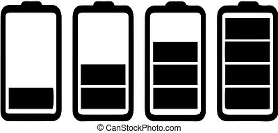 set of battery icon on white background