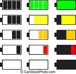 Set of battery icon