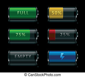 Set of black glossy battery level icons on black background