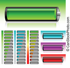 Set of battery - Set of transparent battery on the white...