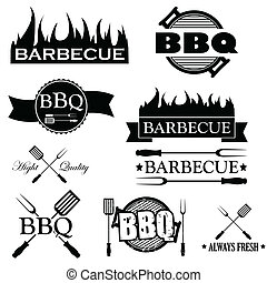 Set of bbq icons isolated on white background, vector ...