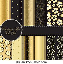 set of beaautiful vector gold and black paper for scrapbook