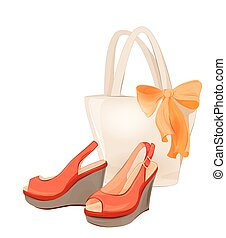 set of  beach bag and shoes