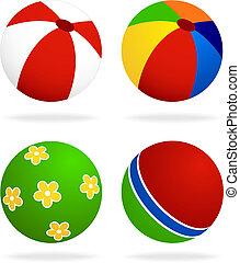 set  of beach balls isolated on white background