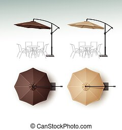 Set of Beach Cafe Bar Pub Umbrella Parasol - Vector Set of...