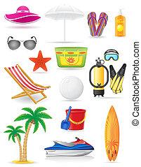 set of beach icons vector illustration