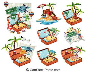 Set of beach in the travel luggage