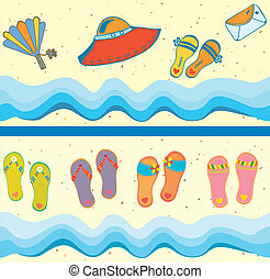 Set of beach seamless borders funny cartoons