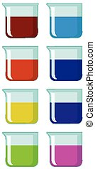 Set of beakers with colorful chemical inside