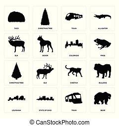Set of bear, train, louisiana, cheetah, christmas tree, colorado, elk, taco icons