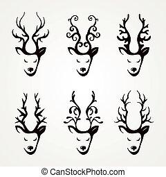 Set of beautiful abstract deer