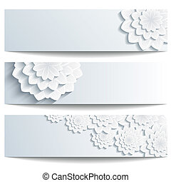 Set of beautiful banners with 3d chrysanthemum