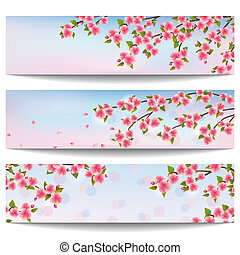 Set of beautiful banners with pink sakura cherry tree