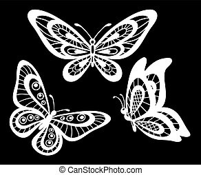 set of beautiful black and white guipure lace butterflies isolated.