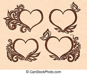 Set of beautiful black-and-white symbol of a heart with floral design and butterfly. Perfect for background greeting cards and invitations to the day of the wedding, birthday, Valentine's Day