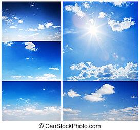 Set of beautiful blue sunny skies