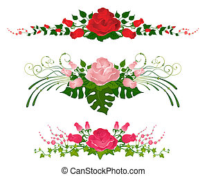 set of beautiful bouquets from roses is isolated on the...
