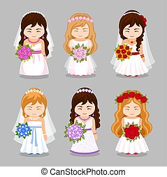 Set of beautiful brides with wedding bouquet.