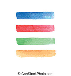 Set of beautiful bright stripes. Vector watercolor design elements. Hand drawn abstract colorful stripes.