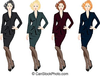 Set of beautiful business women in suits