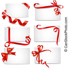 Set of beautiful cards with red gif